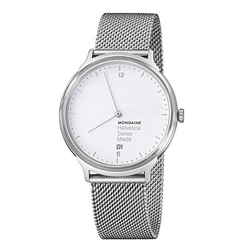 Mondaine Helvetica No1 Light Damen-/ Herren-Uhr, Weisses Zifferblatt mit Datumsanzeige, Silberfarbenes Mesh-Armband