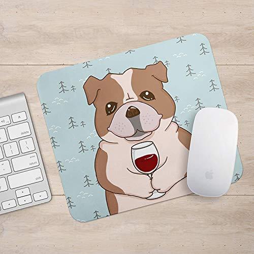 Bulldog drinken koffie/wijn muismat, hond muismat, hond liefhebber geschenk muismatten, grappige laptop accessoires, Size: 7.9x9.9 inches/20x25cm, Veelkleurig