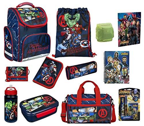 Familando Avengers Schulranzen-Set 17-TLG. mit Dose Flasche Sporttasche Federmappe Regenschutz