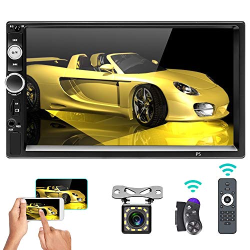 """Car Stereo Double Din Bluetooth 7"""" Touch Screen Car Radio MP5 Video Digital Player Head Unit FM Radio with Remote Control Steering Wheel Control, Support Rear View Camera, Mirror Link/DVR/AUX/USB/SD"""