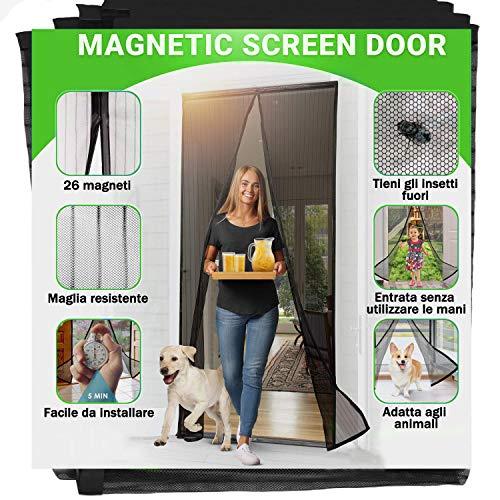 Jellas Zanzariera Magnetica Per Porte, 90 X 210 cm, Si Chiude Da Sola, Impedisce Agli Insetti Di Entrare, 26 Magneti - Non Accorciabile (Nero)