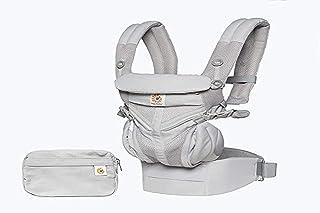 Ergobaby Bärsele för nyfödda till småbarn, 4-position Omni 360 cool luftnät ergonomiskt barnbärarryggsäck (pärlgrå)
