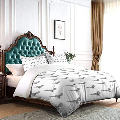 TMSSUNCI Bedding Queen/Full Duvet Cover Set Hand Drawn Asian Chinese Phoenix Tattoo Style Simplistic Magic Bird Print 100% Soft Washed Microfiber Bed Cover Bedding with Zipper Ties