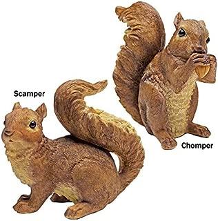 Design Toscano QM918873 Woodland Chomper and Scamper Polyresin, Set of 2 NIBBLING Squirrel Garden Statue, 7