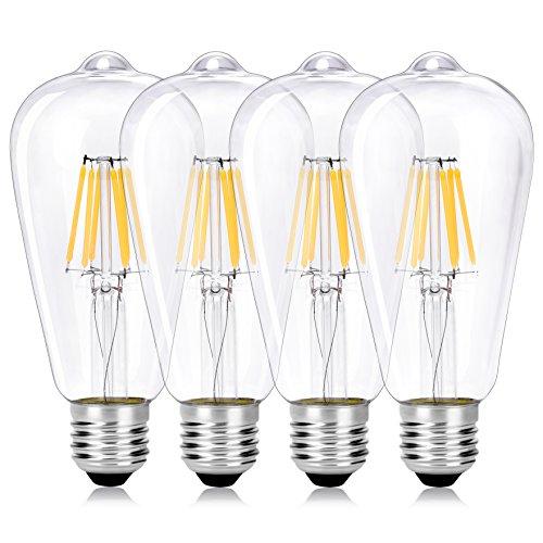 Wedna 6W LED Filamento E27 Edison Lampadina, Bianco caldo 2700K, ST64 vintage Lampadina 600LM (60W Incandescente Equivalente) Non dimmerabile, Vetro trasparente - 4 Pezzi