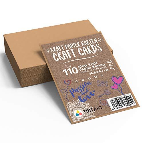 Tritart Kraftpapier Karten Blanko   110 Papier-Karten zum Basteln - Schreiben - Dekorieren - DIY I Kraft cards I Leere Grußkarte 14,6 x 9,7 cm