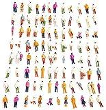Xfaiz - Set di 100 pezzi in scala HO 1:75 HO in scala di resina fai da te figure piccole persone sedute modello dipinto misto persone colorate sedute in piedi persone treno parco strada passeggeri