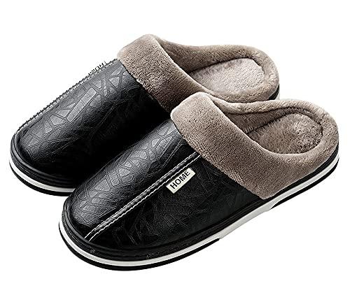 Zapatillas de Estar por casa para Mujer Impermeables de PU Pantuflas Térmicos de Invierno Suave Algodón Casa Zapatos Cómodo Y Antideslizante