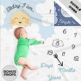 Manta de doble cara con diseño de hito de bebé, manta de mes para fotos de...