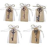 Awtlife Lot de 50 sachets avec décapsuleurs en forme de clé vintage pour dragées de mariage 5 styles