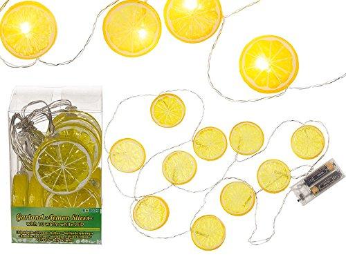 CREOFANT slinger met citroen · 10 LEDs lichtketting · citroen slinger · lichtsnoer voor binnen · zomer decoratie tuinfeest beachparty decoratie
