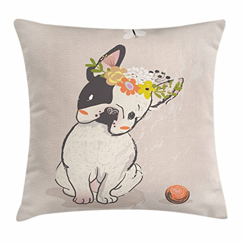 Lunarable Dog Throw Pillow Cushion Cover, Hand Drawn French Bulldog with Wreath on Its Head Watercolor Domestic Pet Illustration, Decorative Square Accent Pillow Case, 16' X 16', Multicolor
