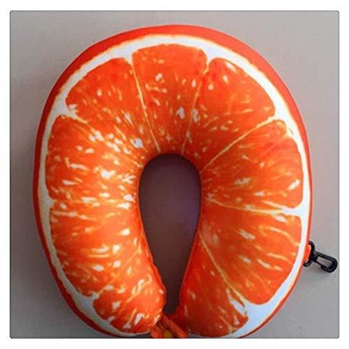 LAZ Spielraum-Kissen U-geformte Nanopartikel Nackenkissen Wassermelone Lemon Kiwi Orange Weich Car Kissen for Reisen, Flugzeug, Bus, Zug, Heim (Farbe : Orange2, Größe : 30x30cm)