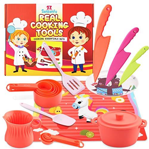 SANBANFU Kids Cooking Set, Silicone Kitchen Pretend Play Toys-11 PCS Junior Cooking Essentials Set,Real Cookware Utensils, Kitchen Set for Todder Girls Boys