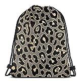 Mochila unisex con cordón, diseño de leopardo, sin costuras, en...