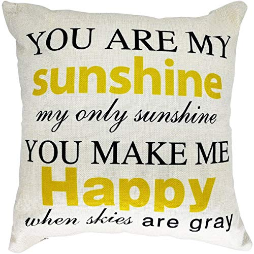 Throw Pillow Case Cushion Cover, 18 x 18 Inches, with Inspirational Quote You are My Sunshine, for Sofa Couch Bed Decor