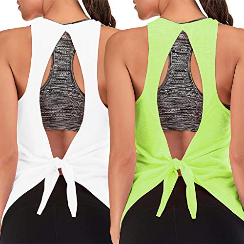 Canotta da allenamento da donna con reggiseno integrato, per esercizi, yoga, palestra - Verde -...