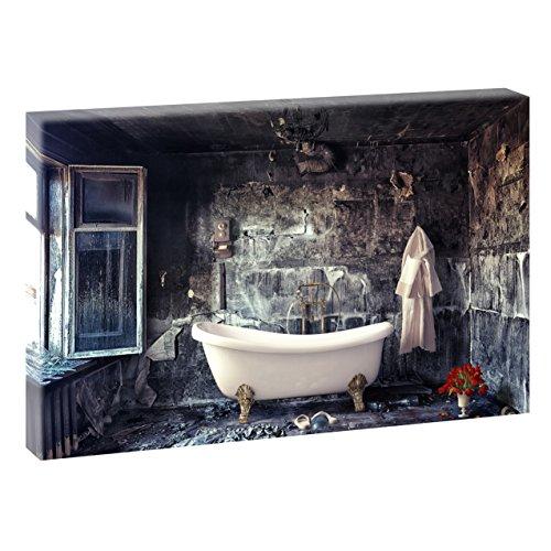 Querfarben Badezimmer | V1720315 | Bilder auf Leinwand | Wandbild im XXL Format | Kunstdruck in 120 cm x 80 cm | Bild Abstrakt Stillleben Vintage