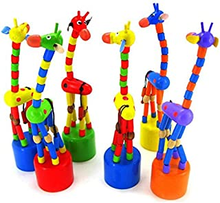 Hot Sale! Hotsellhome Kids Intelligence Toy Dancing Stand Colorful Rocking Giraffe Wooden Baby Toy Child Gift (Colour Random)