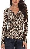 MISS MOLY Blusa con Hombros Descubiertos y Sexy para Mujer Camisa de Manga Larga con Estampado de Leopardo Elegante - S