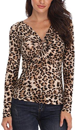 Miss Moly Damen Sexy Oberteil Schulterfrei Bluse Langarm Shirt Elegant Leopard Print - Large