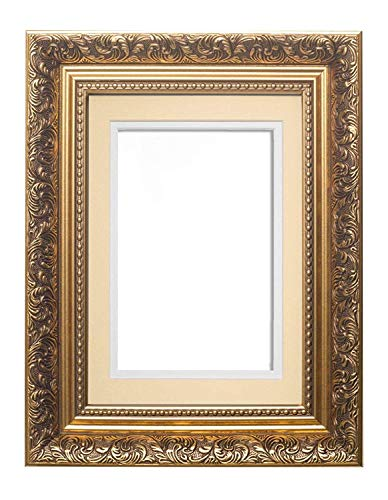 or cadre avec Ivoire sur Blanc Double mont - Instagram Carré Style baroque français Avec mont Antique Swept orné photo cadre / Affiche cadre - 43,2 x 43,2 cm pour 38,1 x 38,1 cm