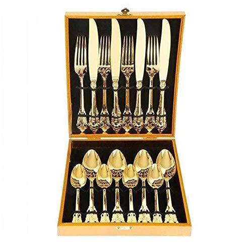 George zhang Hochwertige vergoldet Edelstahl-Besteck, Palast geschnitzt Steak, Messer, Gabel und Löffel