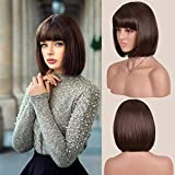 Dark Brown Short Bob Wig With Bangs For Women Short Straight Women's Costume Wigs Dark Brown Heat Resistant Halloween Party Christmas Cosplay Wigs (Dark Brown)