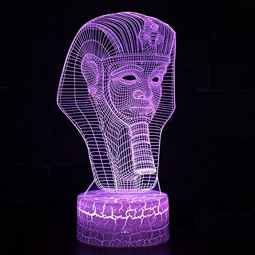 3D Led Egyptische Pharao lamp LED nachtlampje met afstandsbediening, 7 kleurwisselende touch voor kindervakantiegeschenken en speelgoedverlichting, USB-stekker