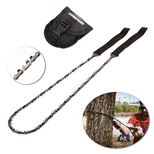 Overmont Sierra de Cadena de Cable Mano Manual (130cm-48dientes) Kit de Supervivencia para Camping Senderismo al Aire Libre con Bolsillo