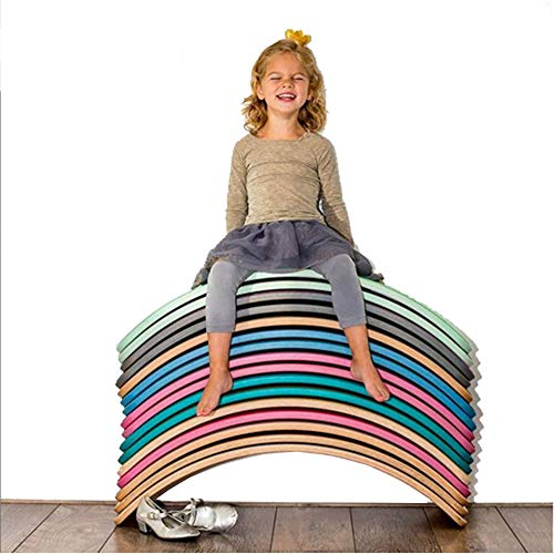 PUDDINGT Tabla de Equilibrio de Madera para niños | Tablero De Madera Montessori | Columpio Curvado Curvado | Tablero de bamboleo,Apto para Adultos y niños(Carga 440 LB),Púrpura