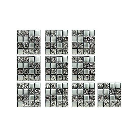 Lilygodx 10PC Autocolantes de parede folhas de 3D Crystal Tile Stickers DIY parede sala de cocina estar quarto escritório inilo Adhesivo Decorativo Pared Sticker(W: 10 cm, L: 10cm)