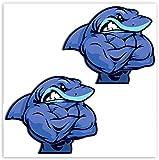 SkinoEu® 2 x PVC Laminado Pegatina Adhesivos Músculos Tiburón Shark Fitness para Autos Coches Motos Ciclomotores Bicicletas Ordenador Portátil Regalo B 155