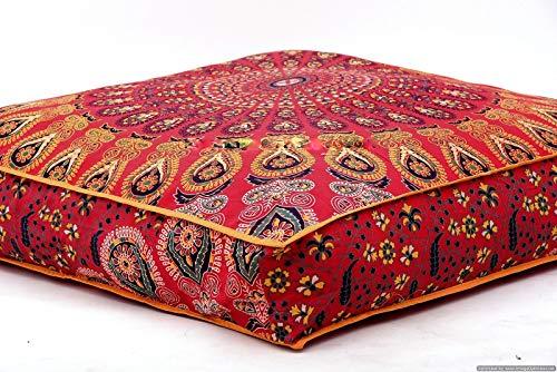 Krati Exports Fundas de cojín de suelo indio, diseño de mandala, color rojo