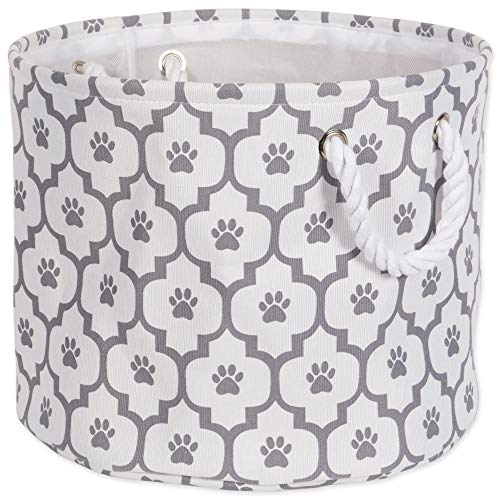 "Bone Dry Paw Print Collapsible Polyester Pet Storage Bin, Round Small - 12 x 12 x 9"", Lattice Gray"