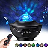 Night Light Projector with Remote Control, Eicaus 2 in 1 Star Projector with LED Nebula Cloud/Moving Ocean Wave Projector for Kid Baby, Built-in Music Speaker, Voice Control, Multifunctional (Black)