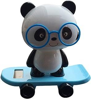 Snowfoller Panda Wear Glasses in Skateboard Swinging,Solar Powered Dancing Panda Animal Swinging Animated Bobble Dancer Toy Car Decor (Blue)
