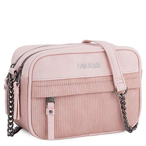 Lois - Bolso Mujer Bandolera de Piel sintética PU de Marca LOIS. Cuero PU. diseño Bonito Vestir y Uso Diario 303783, Color Rosa
