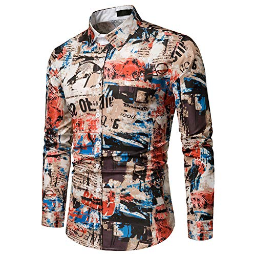 Herrenhemden, Retro-Stil Langarm Casual Herrenhemd Volle Knöpfe Anti-Falten No Fade Atmungsaktiv Soft Fancy Herren Tops
