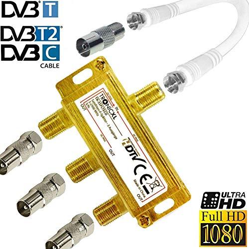TronicXL 3-Fach Sat Splitter IEC Verteiler Antennenverteiler 3fach TV Kabel Adapter Kabelfernsehen Koax zb kompatibel mit für Unitymedia Vodafone Netcom PYUR komro RFT EWE TEL Unicable DVBT DVBC CATV