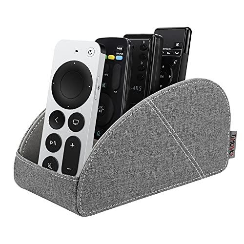 TiMOVO Porta Telecomando TV, Organizzatore da Tavola per Telecomandi Scatola in PU Pelle Desktop per Controllo Remoto con 4 Compartimenti Supporto per Telecomandi Remote Control Holder, Grigio