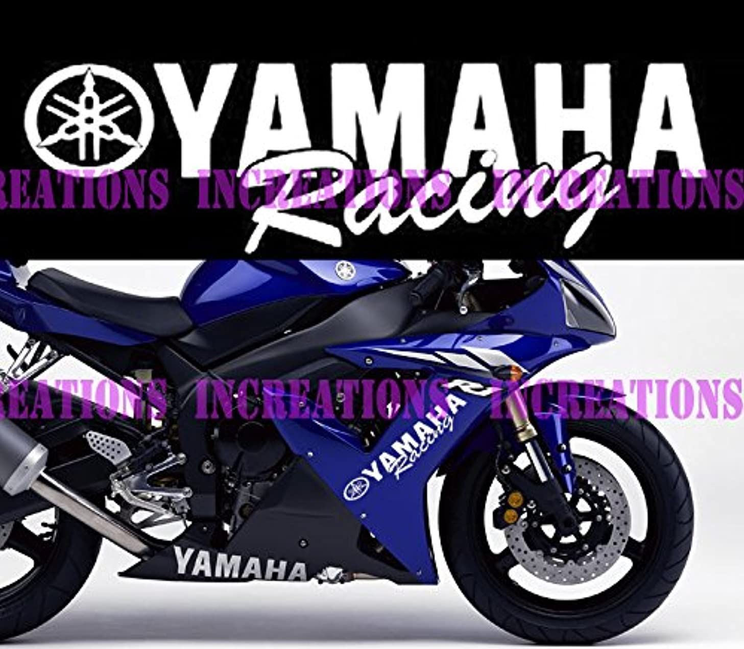 Yamaha Logo Racing Decals Motorcycle Side Stickers Set Of 2 (White)