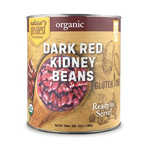 Nature's Greatest Foods, Organic Dark Red Kidney Beans, Food Service Size, Ready to Serve, 108 Ounce (6 LBS 12 Ounce Can)