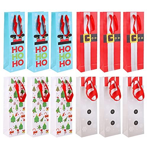12 bolsas de vino de Navidad vino botella bolsas de regalo con cordón,Bolsas de Regalo para Vino Envoltura de botella para cata de vinos fiesta boda cumpleaños navidad fiesta Navidad Cena Decoración
