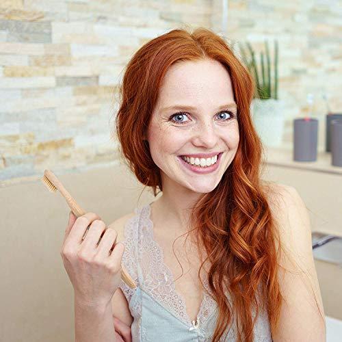 pandoo 4er-Sparset umweltfreundliche Hand-Zahnbürste | Für Erwachsene und Kinder (Mittel bis Weich) | Vegan, Bio, Holzfrei, BPA Frei | Bamboo Toothbrush - 3