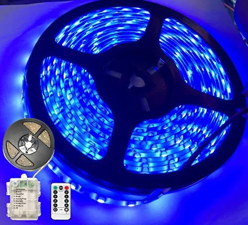 Striscia LED da 3 m funzionamento a batteria 90 strisce LED catena luminosa per casa camera da letto decorazione flessibile autoadesiva telecomando timer 8 modalità dimmerabile Blu 4.50volts