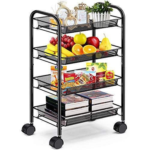 Carrito de alambre de malla negra de 4 niveles de Pipishell, multifunción, oficina, hogar, cocina, almacenamiento, con ruedas, fácil de mover