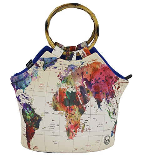 Art of Lunch by ARTOVIDA Large Neoprene Lunch Bag Purse 11' X 15' X 6'. Reusable Insulated Lunch Bag with Inside Pocket- Design by Mark Ashkenazi (Israel) - World Map