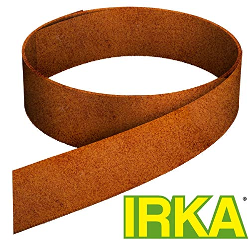IRKA Rasenkantenband aus Corten Stahl 25 cm hoch Rasenkante mit Versteifungskante Beeteinfassung 10 Meter