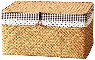 WUHUAROU Panier de Rangement en rotin Panier tressé en jonc de mer, boîte de Rangement rectangulaire avec Couvercle en rot...